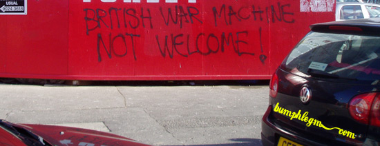 british war machine not welcome
